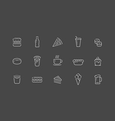 food icon set in linear style items collection vector image