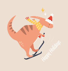 funny flat with dino going ski cute cartoon vector image