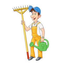 gardener with rake vector image