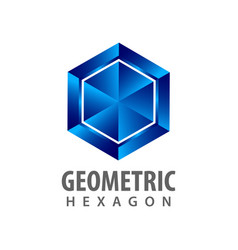 geometric hexagon three dimensional style logo vector image