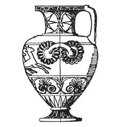Greek vase is a wide-mouthed water jar vintage vector