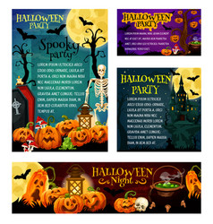 halloween night party invitation banner template vector image