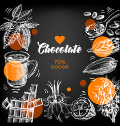 hand drawn sketch cocoa chocolate product vector image