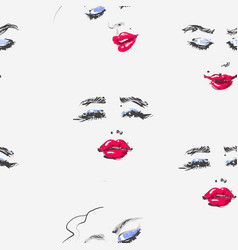 hand drawn woman face with red lipstick in vector image
