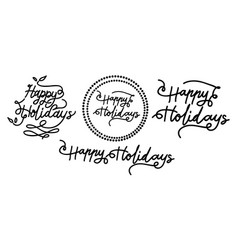 happy holidays template set vector image