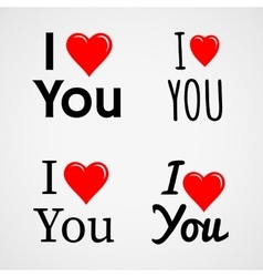 I love you with red heart sign set vector
