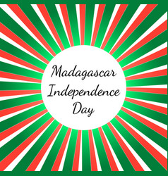 independence day in madagascar 26 june rays from vector image