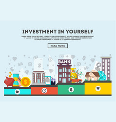 Investment in yourself concept in flat line design vector
