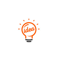 isolated abstract orange color light bulb contour vector image