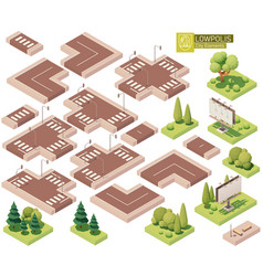isometric street roads and other elements vector image
