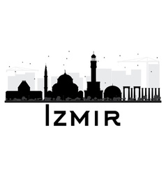 Izmir City skyline black and white silhouette vector
