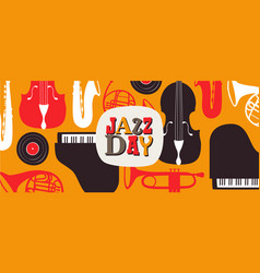 jazz day banner of retro music band instruments vector image