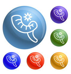 Jewish horn icons set vector