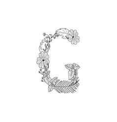 Letter g floral ornament vector