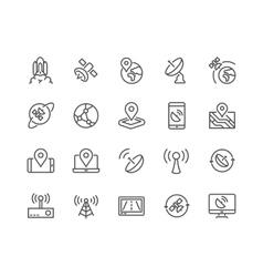Line Satellite Icons vector