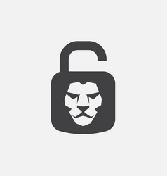 lion padlock icon vector image