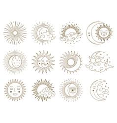 magical moon and sun golden boho astrology vector image
