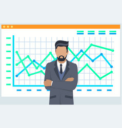 Man financial analyst professional businessman vector
