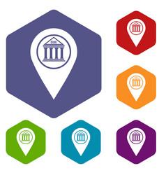 Map pin icons set hexagon vector