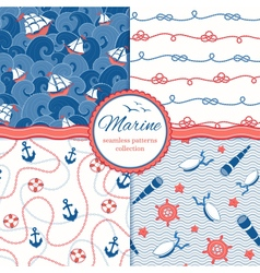 Marine patterns set vector image