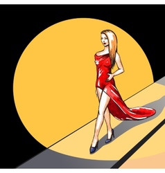 Model on the runway vector image
