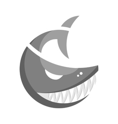 Monochrome fish logo vector image