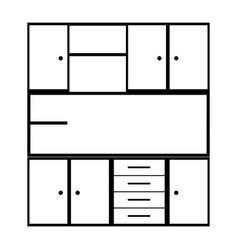 monochrome silhouette of modern kitchen cabinets vector image