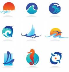 Nature logos 02 sea theme vector