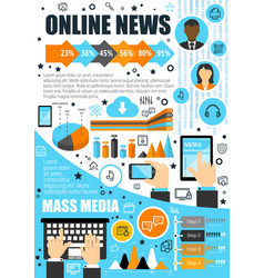 Online news and mass media infographics vector
