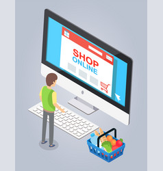 online store concept male buyer selects a product vector image