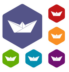 origami boat icons hexahedron vector image