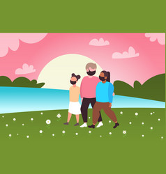 parents with daughter walking outdoors family vector image