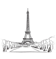 paris city landscape famous landmark eiffel tower vector image