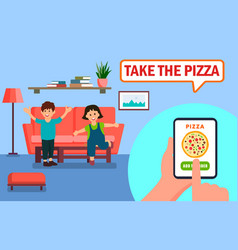 Pizza ordering online app vector