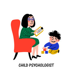 Psychology child psychologist woman psychologist vector