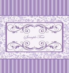 Purple damask invitation card vector