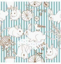 Rabbits nature scene vector
