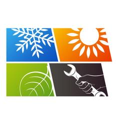 Repair and service eco air conditioner design vector