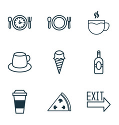 Restaurant icons set with tea lunch time ice vector