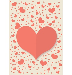 retro card with red heart vector image