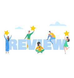 Review concept people characters holding stars vector