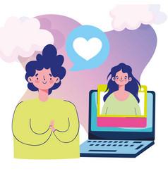 romantic date laptop connection virtual couple vector image