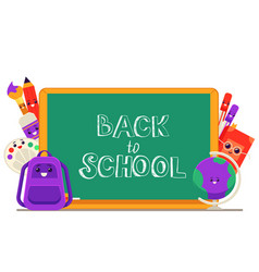 school items cartoon vector image