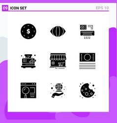 Set 9 commercial solid glyphs pack for market vector