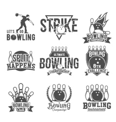set bowling emblems labels badges and vector image