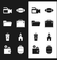 Set car battery folder cinema camera american vector