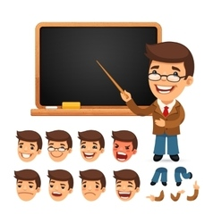 Set of Cartoon Teacher Character for Your Design vector image