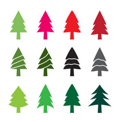 set of christmas tree in silhouette style vector image