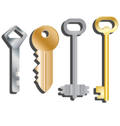 Set of different keys isolated objects vector