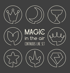 Set of magic fantasy continuous line art icons vector
